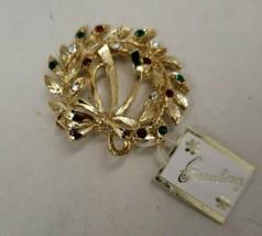 Vintage new Eisenberg gold tone holiday Christmas wreath rhinestone broo... - $42.08