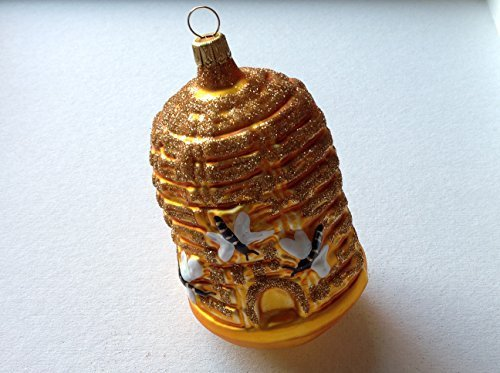 Primary image for Bee Hive Skep W Bees Hand Painted Glass Ornament