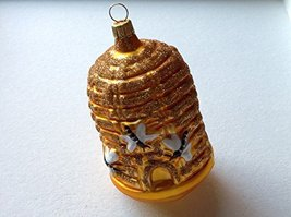 Bee Hive Skep W Bees Hand Painted Glass Ornament