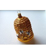 Bee Hive Skep W Bees Hand Painted Glass Ornament - $34.64