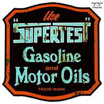 Aged Looking Supertest Reproduction Laser Cut Out Metal Motor Oil 18x18 - $39.60