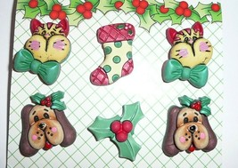 Christmas Realistic Plastic Buttons - Cat, Dog, Stockings Holly (6) Holiday - $5.44