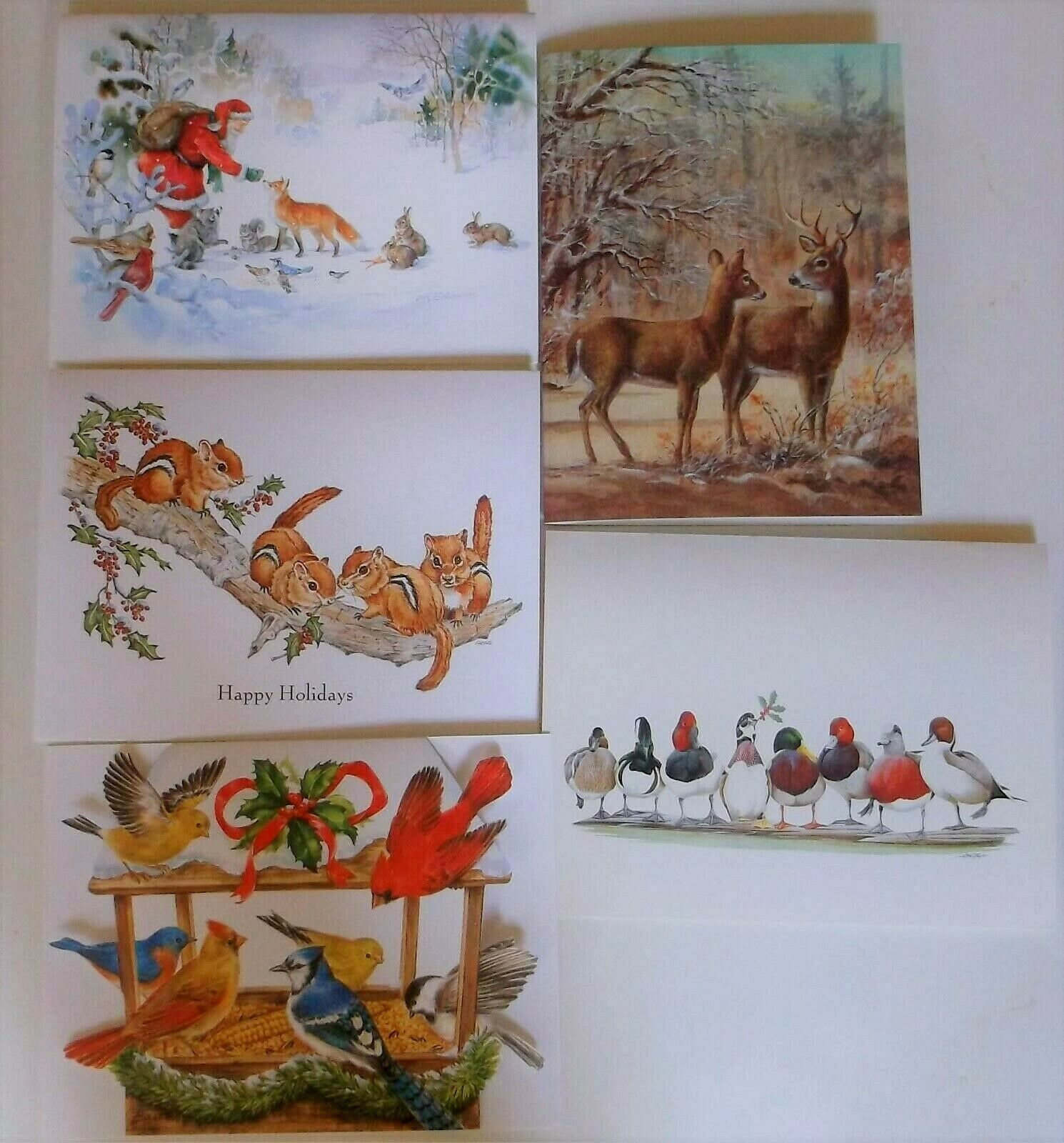 Primary image for National Wildlife Federation 25 Christmas Cards/ Envelopes 5 Designs 1989