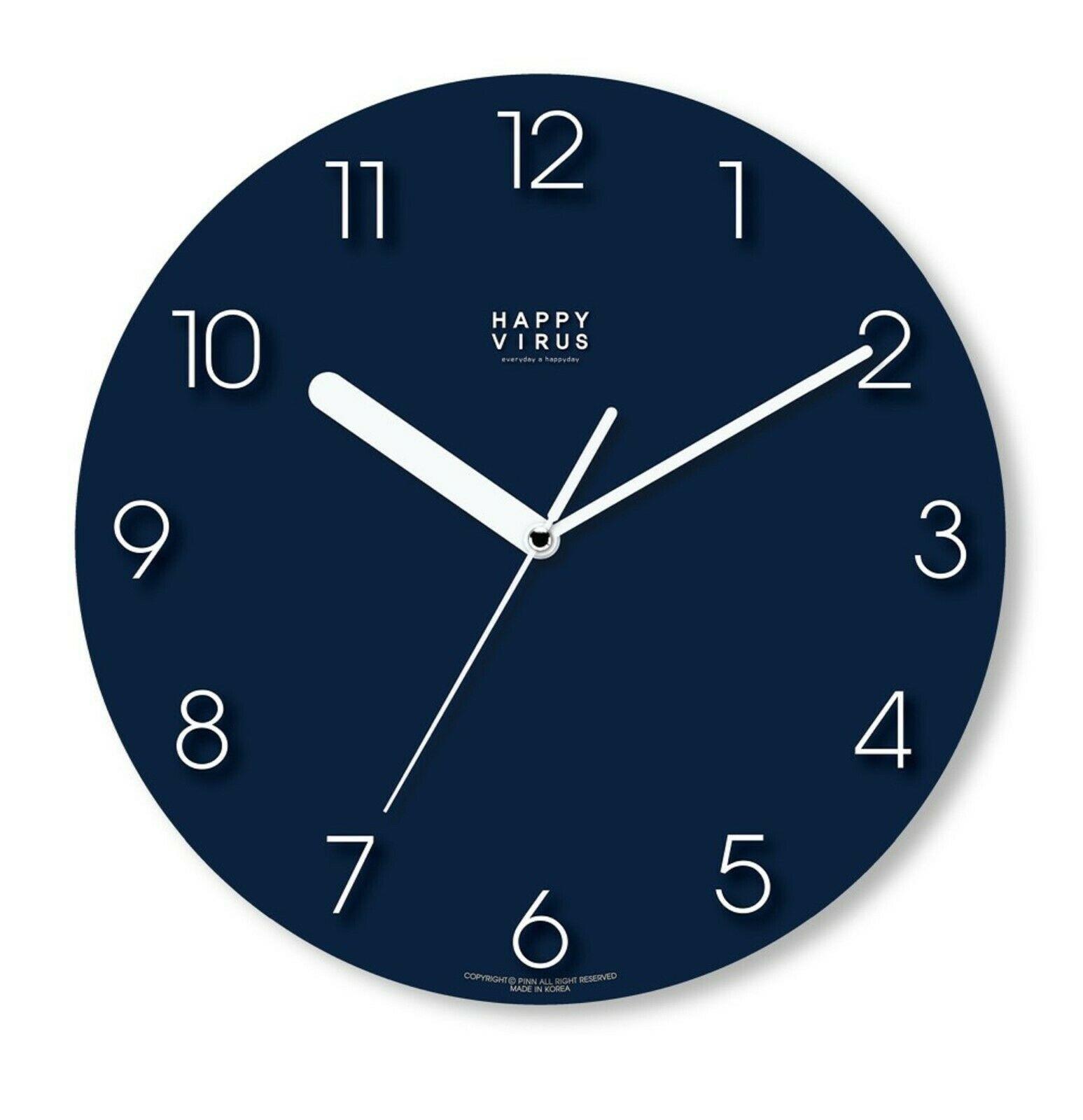 Happy Virus 5019 Wall Clock Navy White MDF Non-Ticking Silent Modern Round Type