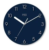 Happy Virus 5019 Wall Clock Navy White MDF Non-Ticking Silent Modern Round Type image 1