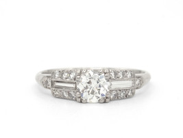 Platinum Diamond Art Deco Ring With Baguettes - $4,050.00