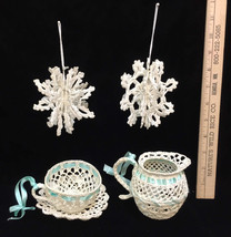 Ornaments Snowflakes Pitcher Teacup Saucer Stiff Crotcheted Lot of 4 - $9.89