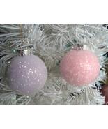 Shabby Pastel Pink Lavender Glass Balls Ornaments Tree Christmas HP Chic - $23.75