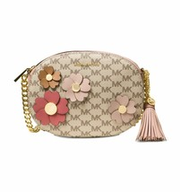 NWT MICHAEL MICHAEL KORS GINNY SIGNATURE FLORA APPLIQUE MEDIUM MESSENGER... - $143.19