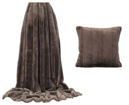 fausse fourrure taupe marron rayé Couverture 130 x 180cm & 55.9cm Housse de - $73.08