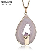 ShinyGem Lucky Black Brown Agates Pendant Necklace Hiding Small Gold Ame... - $12.97
