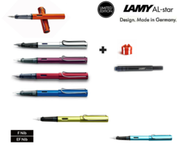 New Lamy AL-STAR SERIES aluminum fountain pens Free ink cartridge Nib op... - $18.99