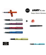 New Lamy AL-STAR SERIES aluminum fountain pens Free ink cartridge Nib op... - $18.99