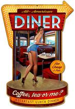Diner Plasma Cut Pin Up Greg Hildebrandt Metal Sign - $37.95