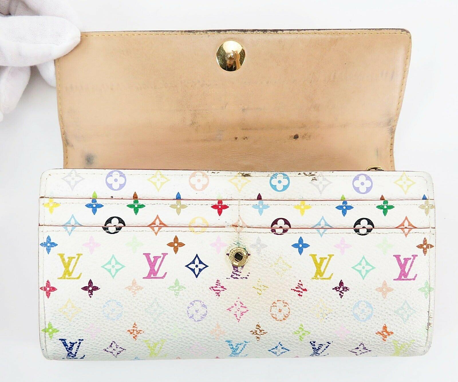 Auth LOUIS VUITTON Sarah White Multicolor Long Wallet Zippered Coin Purse #32568