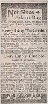 Seed Catalogue Ad Peter Henderson & Co 1895 Pictorial Garden AD - $12.99