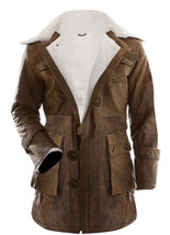 Bane Dark Knight Rises Jacket Genuine Leather Fur Buffing Brown Trench Coat image 1