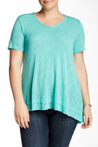 Women's Bobeau V Neck Tiered Hem Tee, Casual top (Plus Size) TURQUOISE S... - $19.79