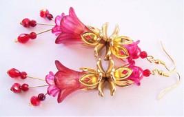 Burgundy - Orange & Pink - Hand Painted - Floral Embellishments - Dangles - $28.46