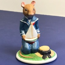 Franklin Mint Woodhouse Mouse Figurine Porcelain Mice 1985 Rupert Sailboat Hat - $19.75