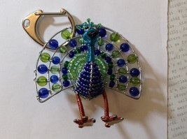 NEW Hand Beaded Blue and Green Turkey Key Chain