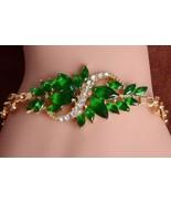 Mele Women's  Jewelry 18k Gold Plated Leaf Stones Bangle Bracelet Holida... - $13.99