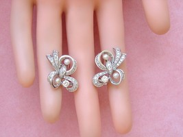 "VINTAGE 2.42ctw DIAMOND PEARL PLATINUM STUD HUGGIE 1"" COCKTAIL EARRINGS ... - $3,163.05"