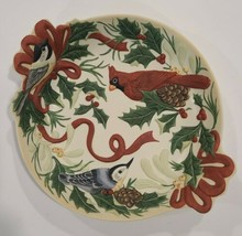 Lenox Winter Greetings Candy Dish w Handles by Catherine McClung Cardinal Birds  - $53.46