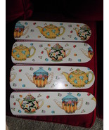 CUSTOM Universal Ceiling Fan Blades with Mary Engelbreit Colorful Tea Pots! - $99.99