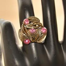 vintage large gold tone ring pink rhinestone adjustable - $9.89