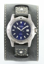 Fossil Watch Mens Blue Stainless Silver Wide Gray Leather 100m Date Quartz - $35.32