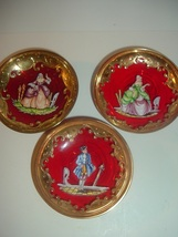 3 Red Art Glass with Gold & Victorian Lady Man Decorations Bowls - $49.99