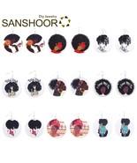 SANSHOOR Printed AFRO Natural Hair Wood Earrings African American Black ... - $19.94