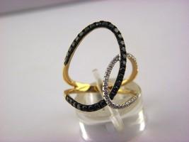 14k or Jaune Sophia 2BeLoved Noir et Blanc Bague Diamant Taille 6.75 - $441.74