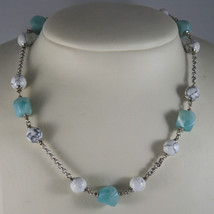 .925 RHODIUM SILVER NECKLACE WITH WHITE HOWLITE AND BLUE QUARTZ image 1
