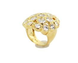 Vintage 18k Gold Plated Diamond Paste Crystal Cluster Statemnet Ring SZ ... - $59.39