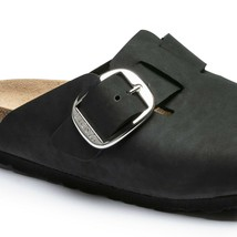 Birkenstock Boston Big Buckle Women Black Slippers Sandals Slip On Clogs... - $184.99