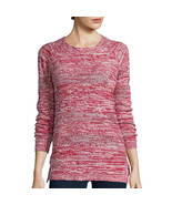 St. John's Bay Long-Sleeve Marled Scoopneck Sweater Size M, L Rumba Red  - $16.99