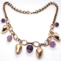 Silver necklace 925, Pink, amatista Purple, Peppers Curved pendants image 1