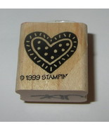 """Heart Rubber Stamp Polka Dots Lines Stampin' Up! Retired Wood Mounted 1""""... - $3.87"""