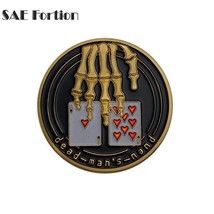 Rare Poker Skeleton Dead Mans Hand Ace 8 Coin Collection Memorial Souven... - $11.99