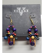 Visage Black blue Red Green Beige Pierced Earrings - $12.59