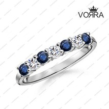 Round Cut CZ & Blue Sapphire White Gold Plated 925 Sterling Silver Wedding Ring