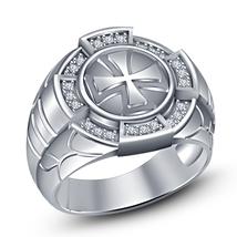 White Gold Plated 925 Silver Round Sim Diamond Biker Cross Men's Ring Free Ship - $81.43