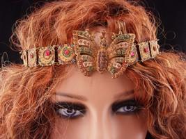 Antique czech earrings / moon star jewelry / Butterfly headband/ art nouveau - $750.00