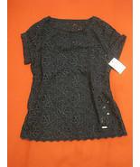 Abercrombie Kids Girl Blouse Top Sz M 12 Navy Eyelet Knit Back Short Sle... - $29.69