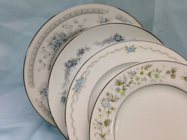 Set of 4 Mismatch Cake Dessert Bread Plates Blue Green Noritake Floral M... - $23.00