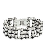 "8.5"" WHOLESALE HEAVY METAL JEWELRY STAINLESS STEEL BRACELET BLACK SILVER TONE - $32.73"
