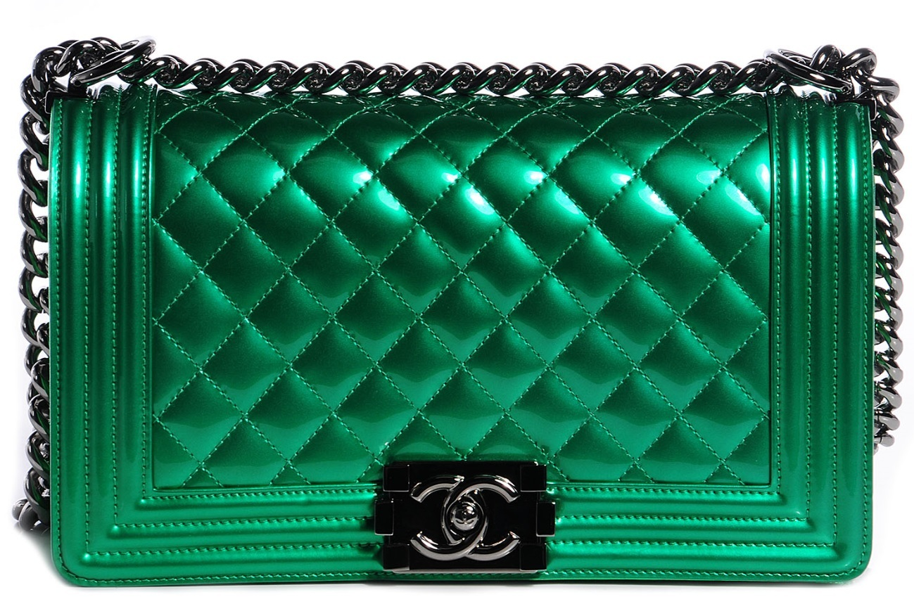 8b2e9b5cf7de Greenboy. Greenboy. Previous. 100% AUTHENTIC Chanel Metallic Green Calfskin  Medium Quilted Boy Flap Bag