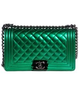 100% AUTHENTIC Chanel Metallic Green Calfskin Medium Quilted Boy Flap Bag  - $4,099.99